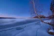 Frosty Dawn In The Creek. Perm Region, Chusovaya River, November, Night, -25C.