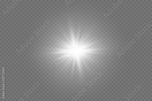 Fototapeta Bright Star. Transparent shining sun, bright flash. Vector sparkles. To center a bright flash. Transparent shining sun, bright flash. obraz na płótnie