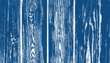 Classic Blue Weathered Wood Planks Vector Background. 2020 Color Of The Year. Deep Blue And White Rustic Wood Grain Overlay Texture. Photography Backdrop. Textured Surface.