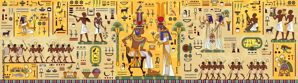 Fototapeta Egyptian hieroglyph and symbolAncient culture sing and symbol.Ancient egypt mural.Egyptian mythology.