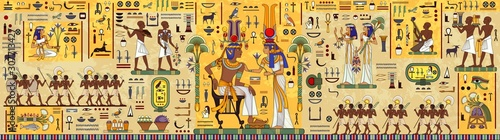 Egyptian hieroglyph and symbolAncient culture sing and symbol Wallpaper Mural