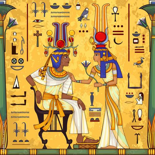 Billede på lærred Egyptian hieroglyph and symbolAncient culture sing and symbol