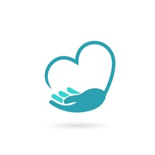 Hand Holds Heart Icon, Isolate...