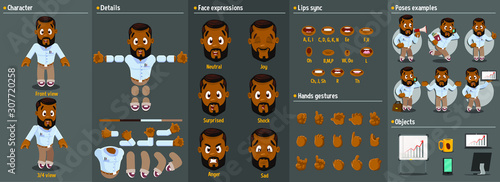 Cartoon afro-american man constructor for animation. Parts of body: legs, arms, face emotions, hands gestures, lips sync. Full length, front, three quarter view. Set of ready to use poses, objects