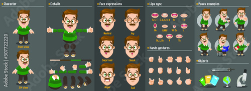 Cartoon teacher man in glasses constructor for animation. Parts of body: legs, arms, face emotions, hands gestures, lips sync. Full length, front, three quarter view. Set of ready to use poses,objects
