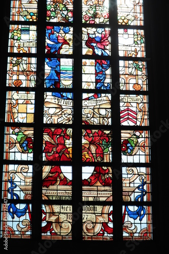 Fotografie, Obraz Haarlem, the Netherlands - october 6th, 2018: Stained glass in st Bavo church