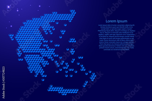 Fotografie, Obraz Greece map from 3D blue cubes isometric abstract concept, square pattern, angular geometric shape, glowing stars