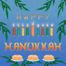 Set Of Elements For The Jewish Holiday Of Light - A Happy Hanukkah. Sweet Donut On A Plate, Olive Branch, Colorful Lighted Candles. Greeting Card.