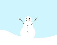 Cartoon Drawing Of A Snowman, Vector Illustration