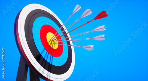 Colored target board with arrows in the sun against blue sky - 3D illustration Wallpaper Mural