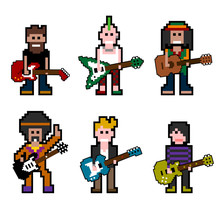 Vector Pixel Musician Characters With Guitars