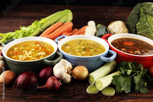 Obraz na płótnie Set of soups from worldwide cuisines, healthy food