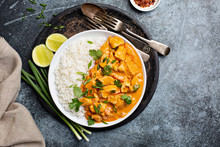 Chicken And Cashew Red Curry With Rice And Herbs, Thai Inspired Dish Overhead View