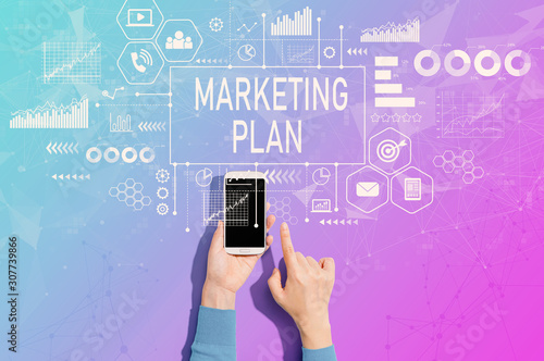 Marketing plan with person using a white smartphone