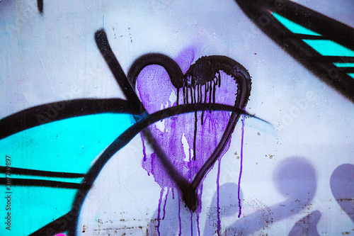 Purple Graffiti Heart