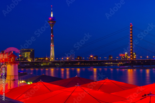 Dusseldorf, Germany - Colorful Night View around the World at the Rhine River an Wallpaper Mural