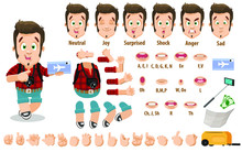 Cartoon Tourist Young Man Constructor For Animation. Parts Of Body: Legs, Arms, Face Emotions, Hands Gestures, Lips Sync. Full Length, Front, Three Quarter View. Set Of Ready To Use Poses, Objects.