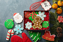 Christmas Gingerbread And Sugar Cookies Decorated With Royal Icing In A Tin