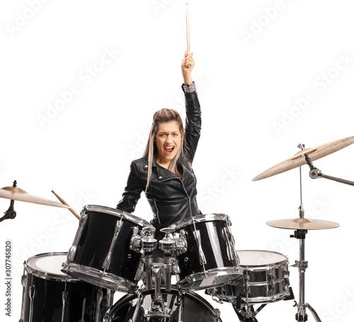 Fotografie, Tablou Excited female drummer raising a drumstick