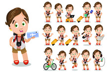 Big Vector Cartoon Set With Young Woman, Tourist Who Keeping Passport, Air Ticket, Map, Going With Suitcase, Riding Bicycle, Listening To Music, Running, Looking To Laptop, Speaking By Smartphone.