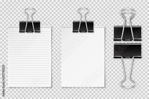Valokuva Realistic blank paper sheet with shadow in A4 format and black paper clip, binder isolated on checkered background