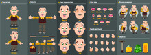 Cartoon Mustached Elderly Man Constructor For Animation. Parts Of Body: Legs, Arms, Face Emotions, Hands Gestures, Lips Sync. Full Length, Front, Three Quarter View. Set Of Ready To Use Poses, Objects