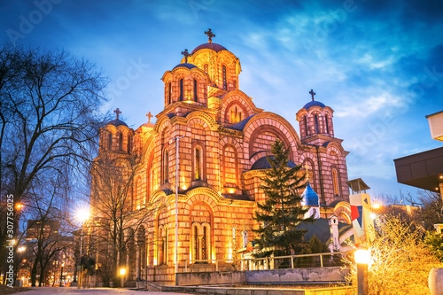 Saint Mark church at night in Belgrade, Serbia Canvas Print