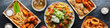 canvas print picture - top down photo of carne asada fries and buffalo chicklen wings