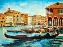 An Oil Painting Venetian Gondo...