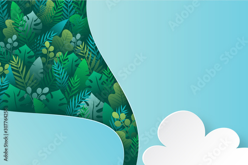 Obraz Tropical green leaf with nature concept landing page background template. - fototapety do salonu