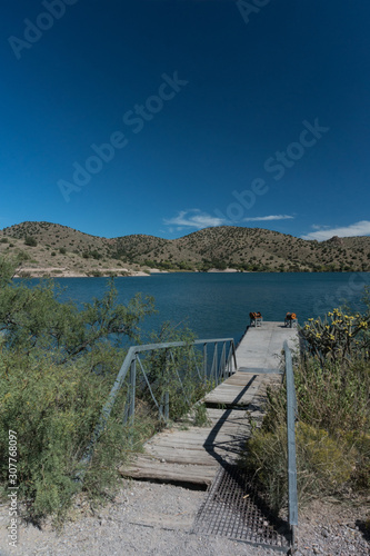 Vertical, Bill Evans lake dock in southwest New Mexico. Canvas Print