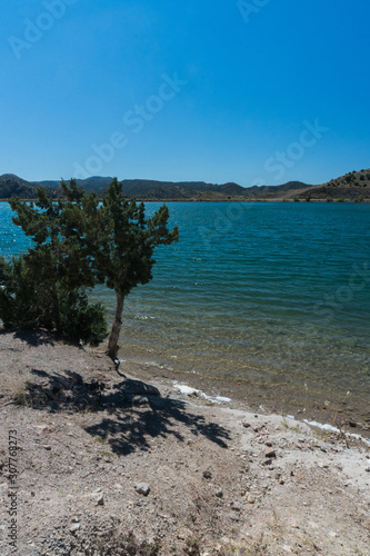 Photo  Vertical view of Bill Evans Lake in New Mexico.