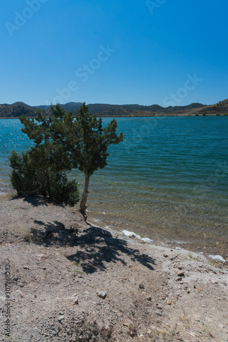 Платно Vertical of Bill Evans Lake in southern New Mexico near Silver City