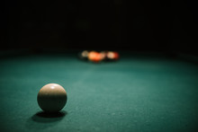 Billiards Table With Balls And Cue Ball Set Up For Break