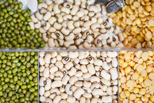 Whole Grains Beans And Legumes Seeds Lentils Background Top View - Collage Various Beans Mix Peas Agriculture Of Natural Healthy Food For Cooking Ingredients Mung Beans , Soya Bean , Black Eyed Peas