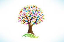 Logo Tree Hands Print Love Hea...