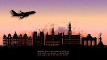 Watercolor Of Belgium Silhouette Skyline And Famous Landmark. Vector Illustration.
