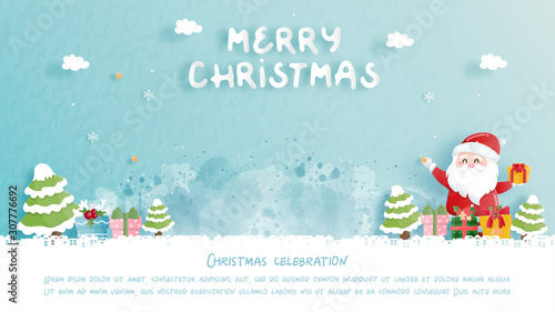 Photographie Christmas card with cute Santa and gift boxes in paper cut style vector illustration