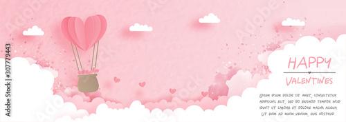 Fototapeta Valentines card with cute teddy bear in paper cut style vector illustration. obraz