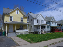 Street Of Detached Working Class Houses With Front Yards.