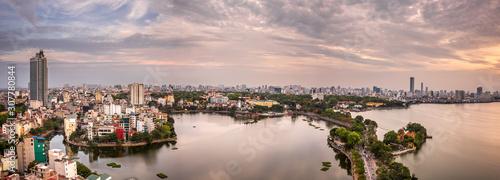 Dusk view over West Lake, Hanoi, Vietnam