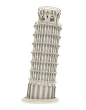 Leaning Pisa Tower Isolated