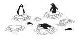 Fototapeta Fototapety na ścianę do pokoju dziecięcego - penguin vector icon logo iceberg cartoon character fish salmon tuna illustration symbol graphic doodle design