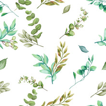Seamless Pattern Background With Green Leaves
