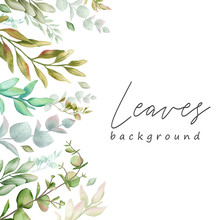 Watercolor Leaves Background