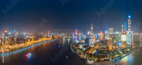 The night view of the city on the huangpu river bank in the center of Shanghai, Wallpaper Mural