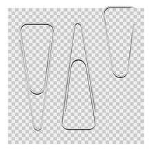 Vector Set Of Silver Paper Cli...