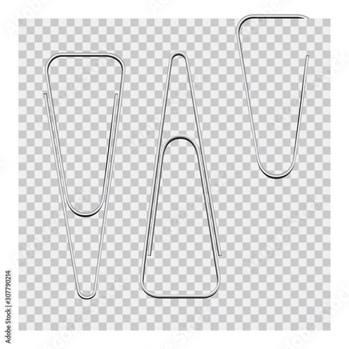 Photo Vector set of silver paper clip on background.