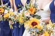 canvas print picture - Classic Blue Pantone 2020 wedding - bridesmaids dresses with floral arrangements
