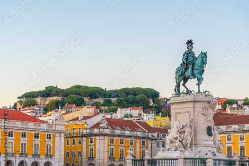 Sunset view of Praca do Commercio square in Lisbon, Portugal Canvas Print